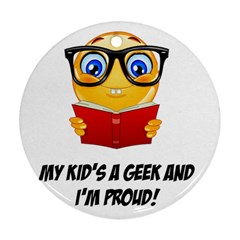 Geek Kid Round Ornament (two Sides) by athenastemple