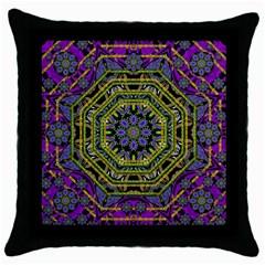Wonderful Peace Flower Mandala Throw Pillow Case (black)