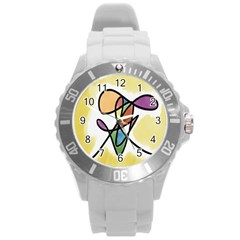 Art Abstract Exhibition Colours Round Plastic Sport Watch (l) by Nexatart