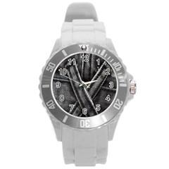 Backdrop Belt Black Casual Closeup Round Plastic Sport Watch (L) by Nexatart