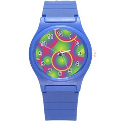 Background Colourful Circles Round Plastic Sport Watch (s) by Nexatart