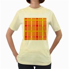 Check Pattern Women s Yellow T Shirt by Nexatart
