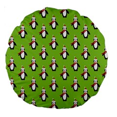 Christmas Penguin Penguins Cute Large 18  Premium Round Cushions by Nexatart