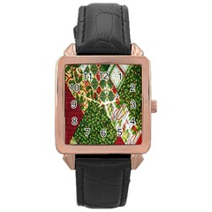 Christmas Quilt Background Rose Gold Leather Watch  by Nexatart