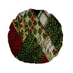 Christmas Quilt Background Standard 15  Premium Flano Round Cushions by Nexatart