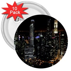 City At Night Lights Skyline 3  Buttons (10 pack)  by Nexatart