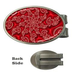 Fractal Art Elegant Red Money Clips (oval)  by Nexatart