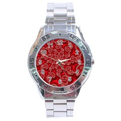 Fractal Art Elegant Red Stainless Steel Analogue Watch