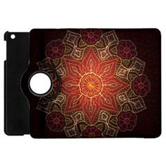 Floral Kaleidoscope Apple Ipad Mini Flip 360 Case by Nexatart
