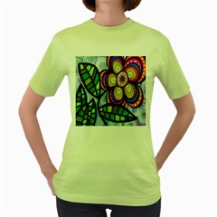 Folk Art Flower Women s Green T Shirt by Nexatart