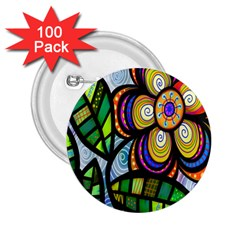 Folk Art Flower 2 25  Buttons (100 Pack)  by Nexatart