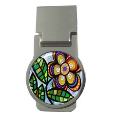 Folk Art Flower Money Clips (round)  by Nexatart