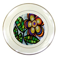 Folk Art Flower Porcelain Plates by Nexatart