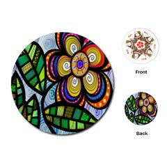 Folk Art Flower Playing Cards (round)  by Nexatart