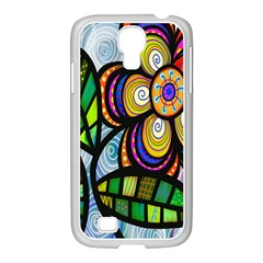 Folk Art Flower Samsung Galaxy S4 I9500/ I9505 Case (white) by Nexatart