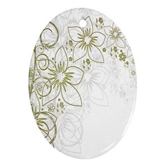Flowers Background Leaf Leaves Oval Ornament (two Sides) by Nexatart