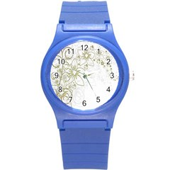 Flowers Background Leaf Leaves Round Plastic Sport Watch (s) by Nexatart