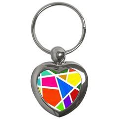 Geometric Blocks Key Chains (heart)  by Nexatart