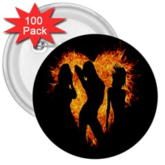Heart Love Flame Girl Sexy Pose 3  Buttons (100 pack)