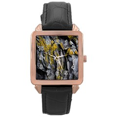 Grey Yellow Stone Rose Gold Leather Watch  by Nexatart