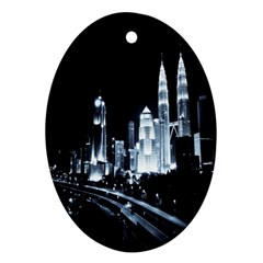 Kuala Lumpur Urban Night Building Oval Ornament (Two Sides)