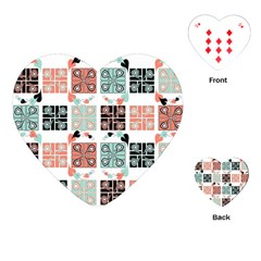 Mint Black Coral Heart Paisley Playing Cards (heart)  by Nexatart