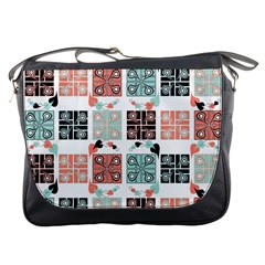 Mint Black Coral Heart Paisley Messenger Bags by Nexatart
