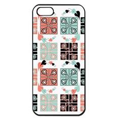 Mint Black Coral Heart Paisley Apple Iphone 5 Seamless Case (black) by Nexatart