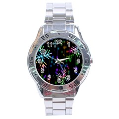 Nowflakes Snow Winter Christmas Stainless Steel Analogue Watch