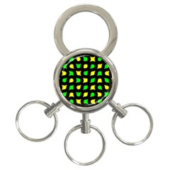 Yellow Green Shapes                                                     3 Ring Key Chain by LalyLauraFLM