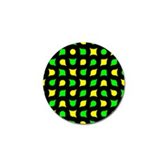 Yellow Green Shapes                                                     			golf Ball Marker by LalyLauraFLM