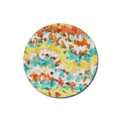 Retro Watercolors                                                      			rubber Coaster (round) by LalyLauraFLM