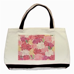 Peonies Flower Floral Roes Pink Flowering Basic Tote Bag by Jojostore