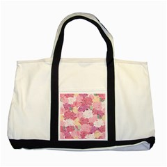 Peonies Flower Floral Roes Pink Flowering Two Tone Tote Bag by Jojostore