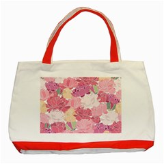 Peonies Flower Floral Roes Pink Flowering Classic Tote Bag (red) by Jojostore