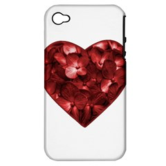 Floral Heart Shape Ornament Apple Iphone 4/4s Hardshell Case (pc+silicone) by dflcprints