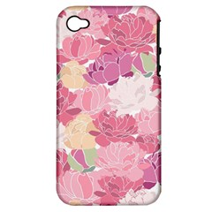 Peonies Flower Floral Roes Pink Flowering Apple Iphone 4/4s Hardshell Case (pc+silicone) by Jojostore