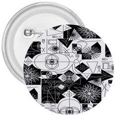 Point Line Plane Themed Original Design 3  Buttons by Jojostore