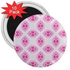 Peony Photo Repeat Floral Flower Rose Pink 3  Magnets (10 Pack)  by Jojostore