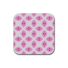 Peony Photo Repeat Floral Flower Rose Pink Rubber Square Coaster (4 Pack)  by Jojostore