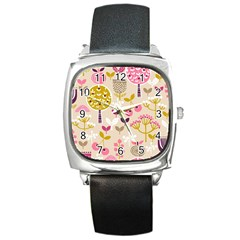 Retro Fruit Leaf Tree Orchard Square Metal Watch by Jojostore