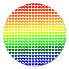 Rainbow Love Heart Valentine Orange Yellow Green Blue Magnet 5  (Round) by Jojostore