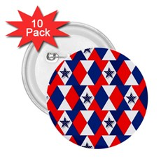 Patriotic Red White Blue 3d Stars 2 25  Buttons (10 Pack)  by Nexatart