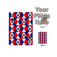 Patriotic Red White Blue 3d Stars Playing Cards 54 (Mini)  by Nexatart