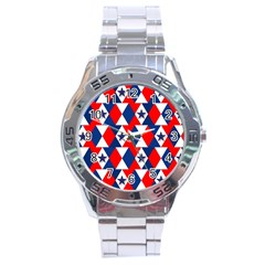 Patriotic Red White Blue 3d Stars Stainless Steel Analogue Watch by Nexatart