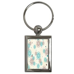 Small Circle Blue Brown Key Chains (rectangle)  by Jojostore