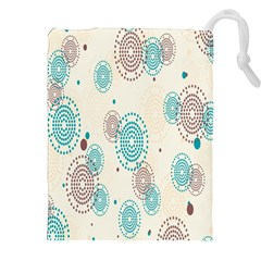 Small Circle Blue Brown Drawstring Pouches (xxl) by Jojostore