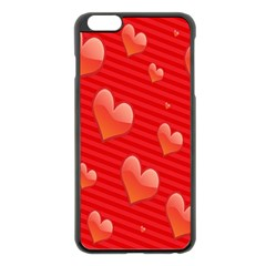 Red Hearts Apple Iphone 6 Plus/6s Plus Black Enamel Case by Nexatart