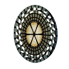 Stained Glass Colorful Glass Oval Filigree Ornament (two Sides) by Nexatart