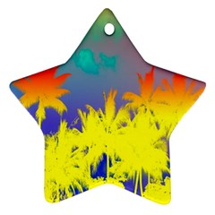 Tropical Cool Coconut Tree Star Ornament (Two Sides)